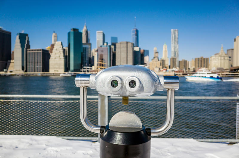 Binoculair in de mening van het de Brugpark van Brooklyn van de stad van New York stock afbeelding