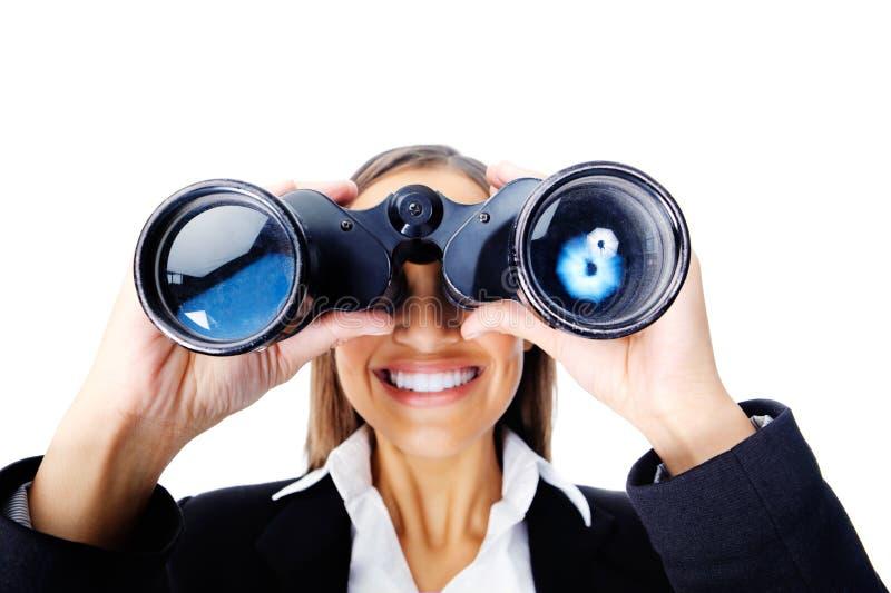 Binoculaire bedrijfsvrouw royalty-vrije stock afbeeldingen