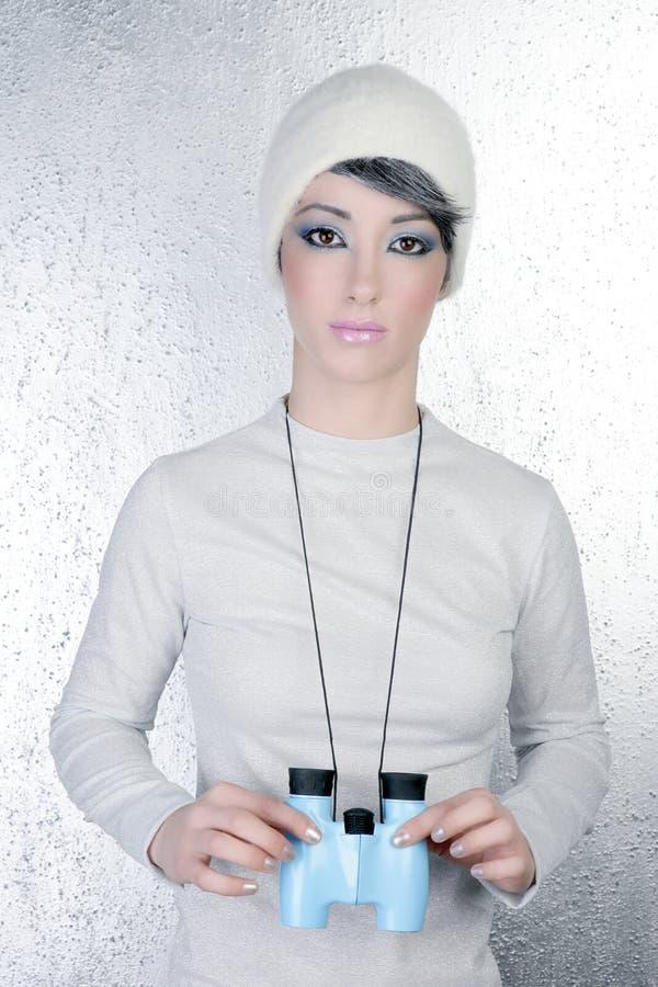 Binocular azul de la mujer moderna futurista de la manera imágenes de archivo libres de regalías