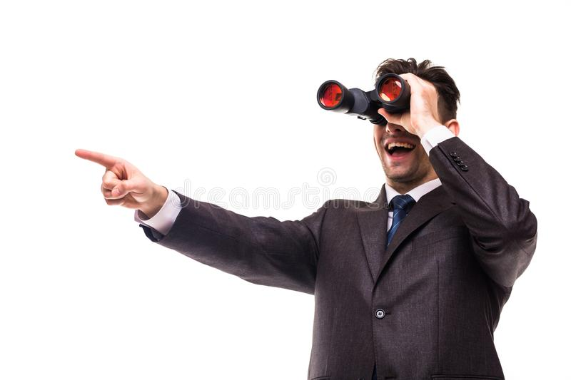 Binocular businessman pointing and smiling isolated on white background royalty free stock photos