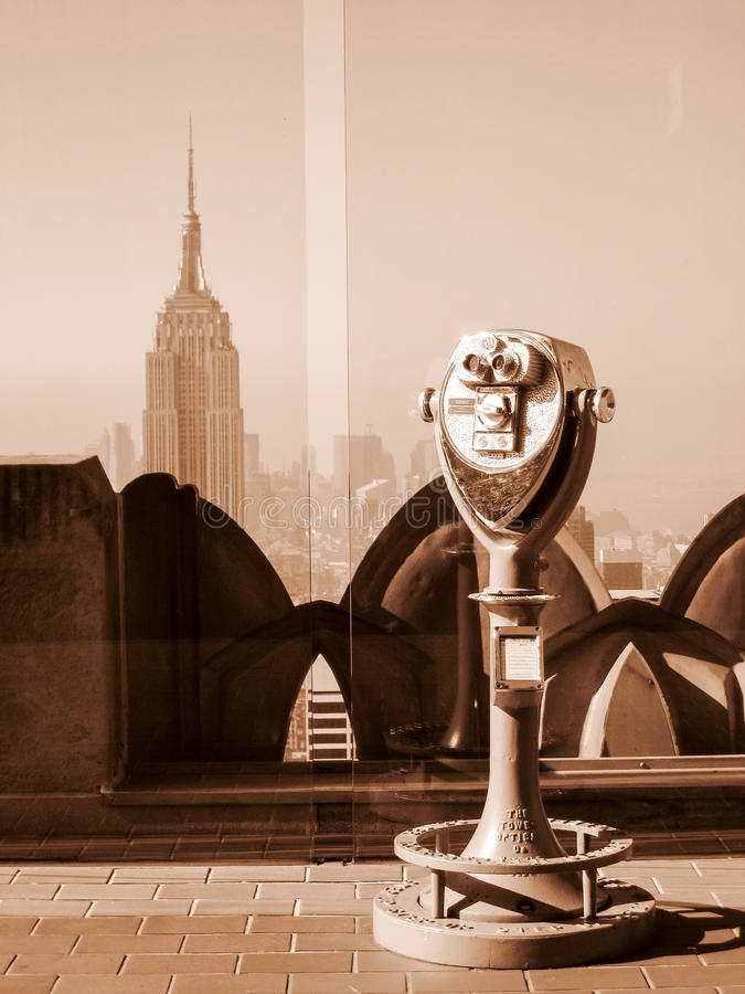 Binocular and Empire State in sepia stock photos