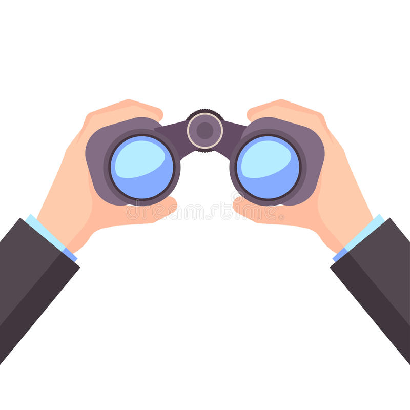 Binocular in Hand, Business vision, vector royalty free illustration