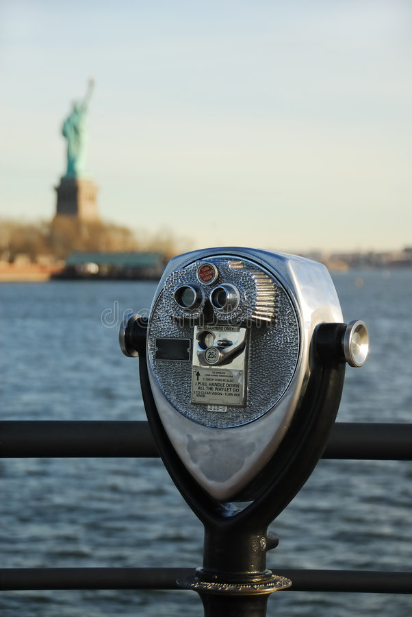 Binocular With Statue of Liberty royalty free stock photo