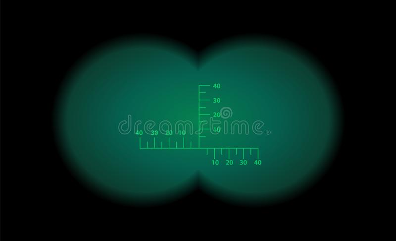 Binocular view optical sight. Night vision style. Binocular view optical sight scale. Night vision style of military weapon view illustration. Circle frame of royalty free illustration