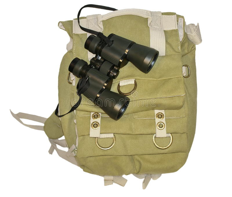 Binoculars And  Backpack Isolated On White B Stock Photography