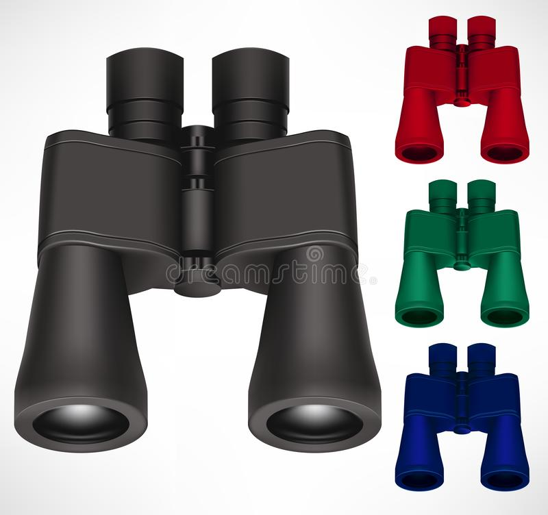 Binoculars Different Color Set 3D Realistic Design In Isolated Background For Traveler and Tourist. Use to Look and Find Far Away Objects. Vector Illustration royalty free illustration