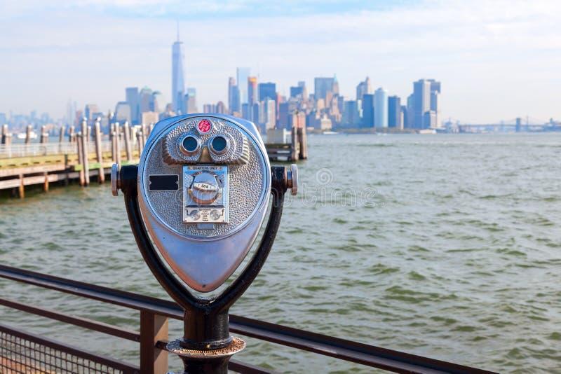 Binoculars on Liberty Island, NYC royalty free stock photo