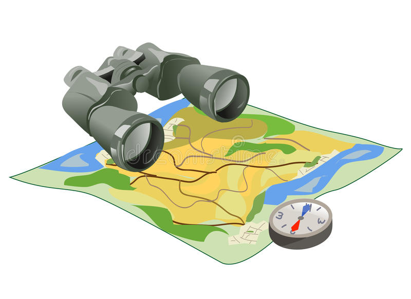 Binoculars, map and compass on white background vector illustration
