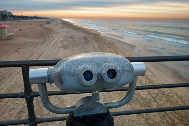 Virginia Beach Fishing Pier With Sightseeing Binoculars