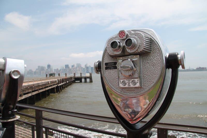 Binoculars, New York City skyline stock images