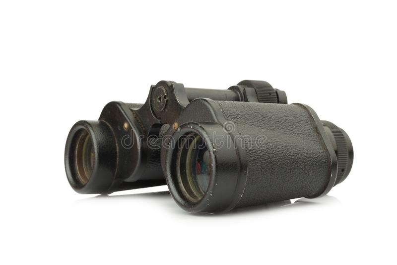 binoculars old. dirty. isolated on white background stock photos