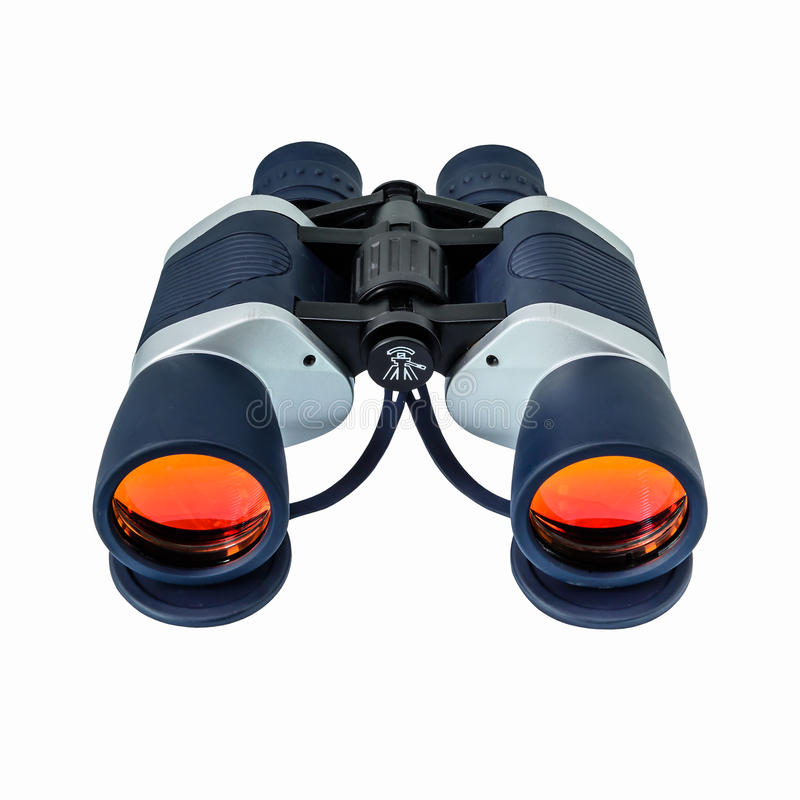 Binoculars with orange lens royalty free stock photos