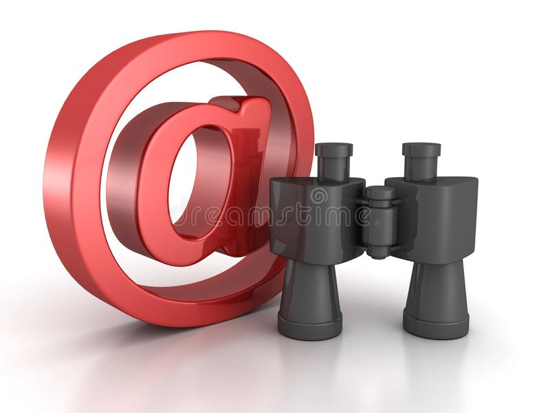 Binoculars with red at e-mail symbol. internet search concept. 3d royalty free illustration