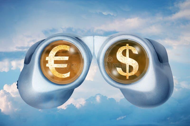 Binoculars reflecting euro and dollar royalty free stock photography