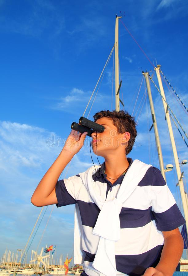 Free Binoculars Teenager Boy On Boat Marina Royalty Free Stock Photo - 16825715