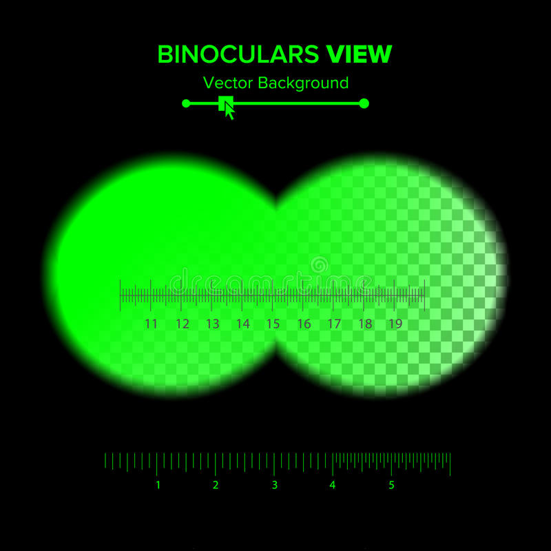 Binoculars View Vector. Illustration Of Binoculars Night Green View Isolated On Transparent Background. Soft Edges, Crosshair. Sea. Rch Concept, Vision royalty free illustration