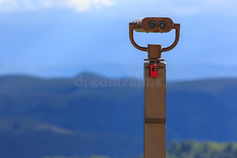 Binoculars on a viewing platform for observing flora, fauna and stock image