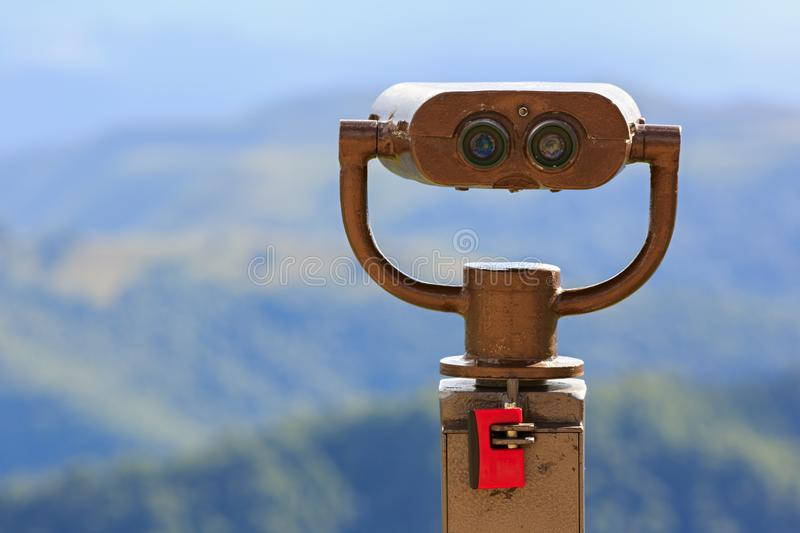 Binoculars on a viewing platform for observing flora, fauna stock photo