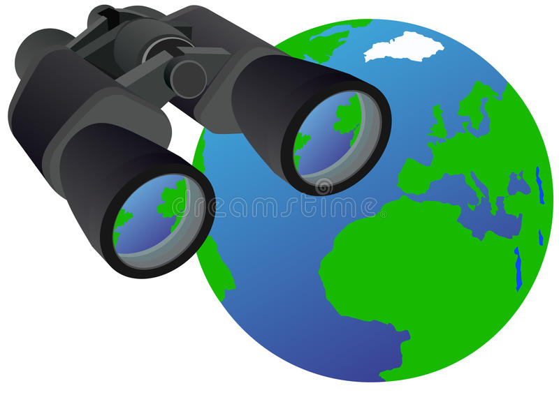 Binokel und Planeten-Erde lizenzfreie abbildung