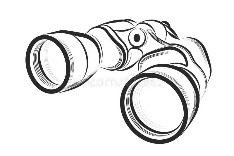 Binokular auf einem weißen Hintergrund lizenzfreie abbildung
