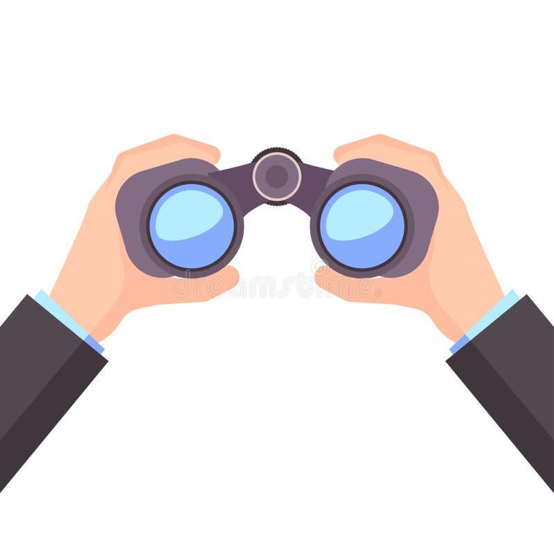 Binokular in der Hand, Geschäftsvision, Vektor lizenzfreie abbildung