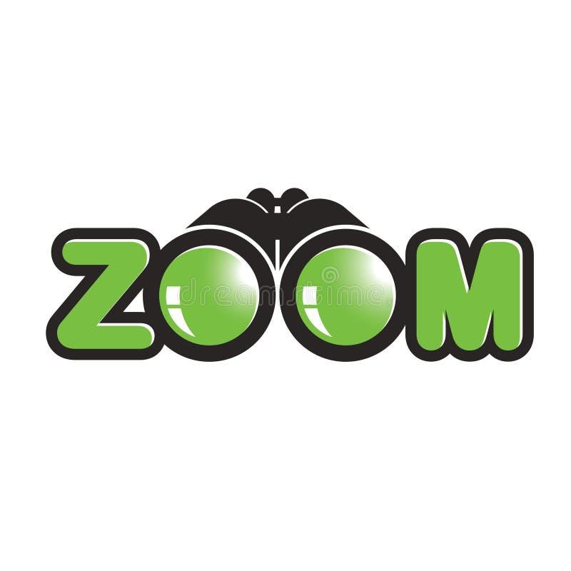 Binokular mit ` ZOOM ` lokalisiert auf Weißrückseitenboden vektor abbildung