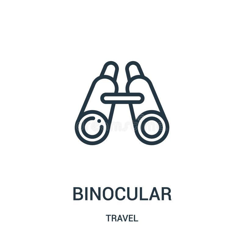binokularer Ikonenvektor von der Reisesammlung Dünne Linie binokulare Entwurfsikonen-Vektorillustration Lineares Symbol für Gebra stock abbildung
