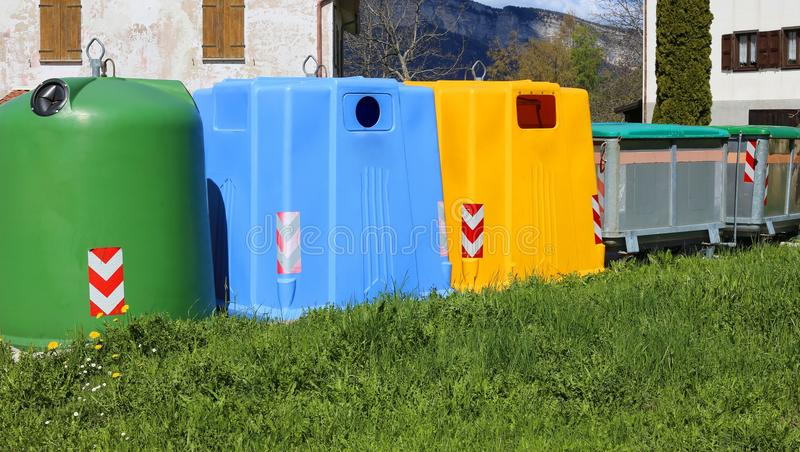 Bins for waste paper collection and for the collection of used p. Lastic and glass bottle royalty free stock photos