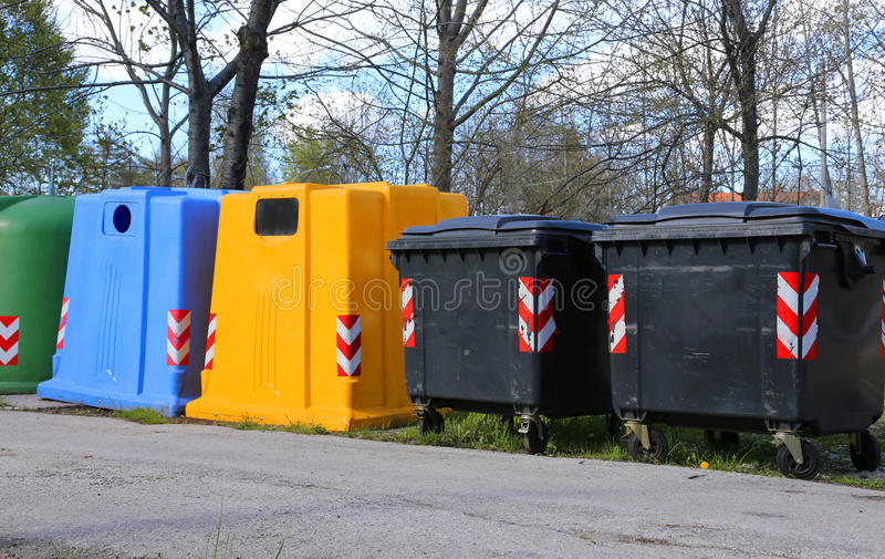 Bins for waste paper collection and for the collection of used p. Lastic and glass bottles royalty free stock photo