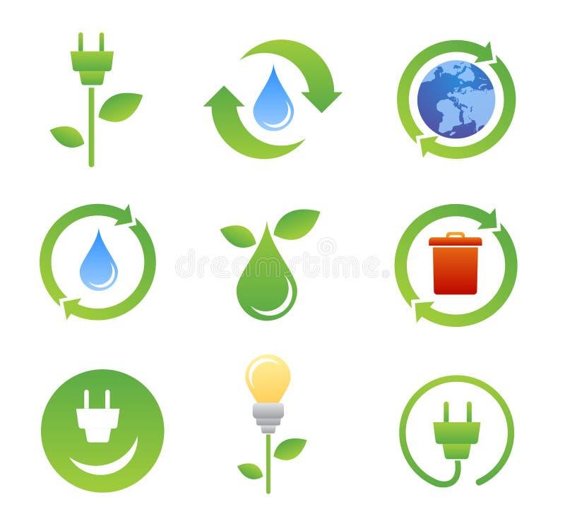 Bio ícones e símbolos da ecologia ilustração royalty free