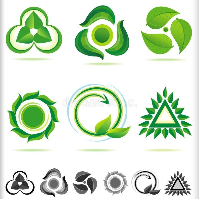 Bio ícones verdes novos ilustração stock