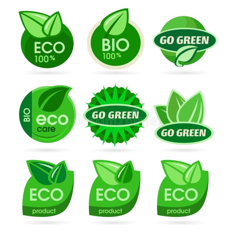 Bio- Ökologie - grüner Ikonensatz lizenzfreie abbildung