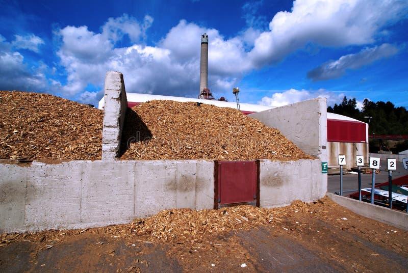 Bio almacenamiento de la central eléctrica del combustible de madera contra el cielo azul fotografía de archivo libre de regalías