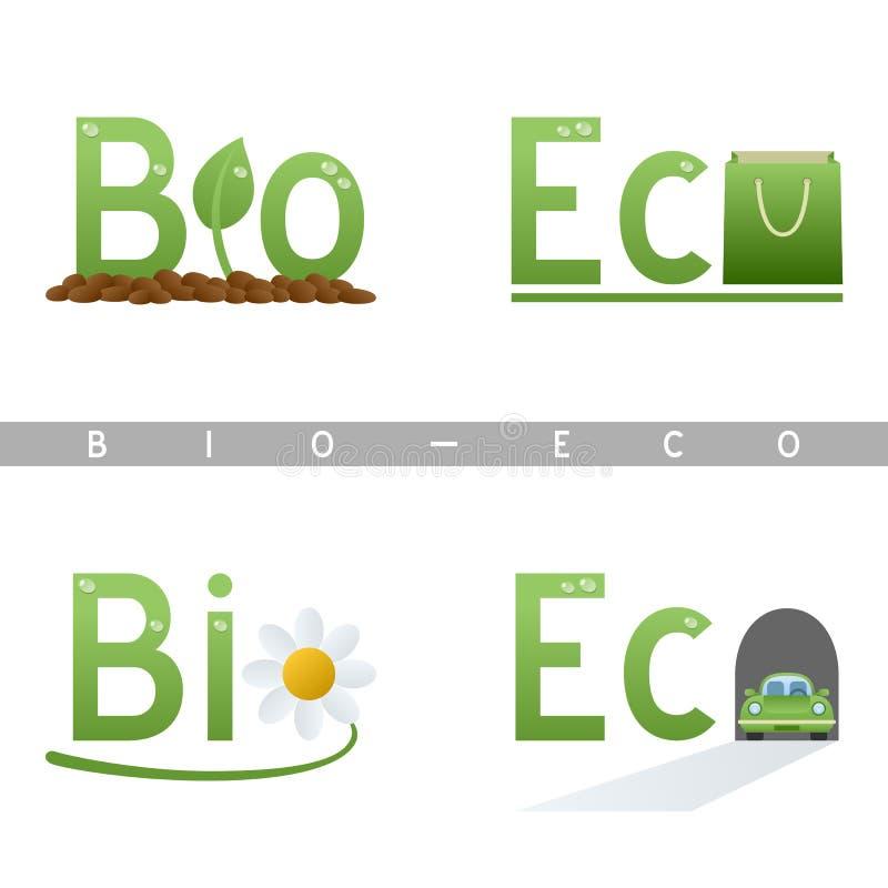 Bio & van de Krantekop Eco Emblemen stock illustratie