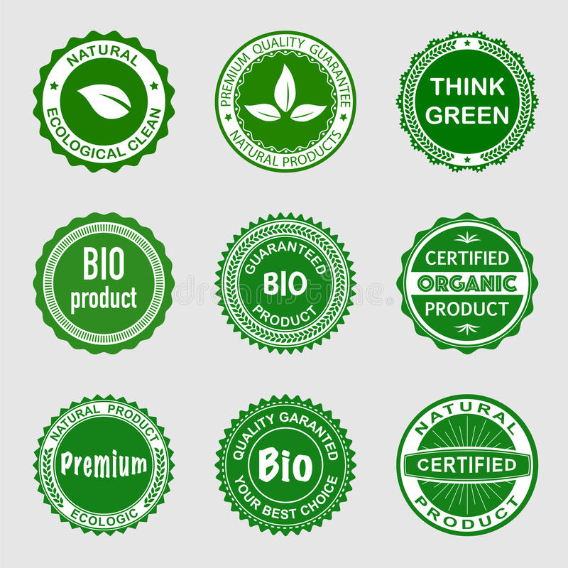 Bio Badges. For your website, presentation or application. All elements are on separate layers and groups royalty free illustration