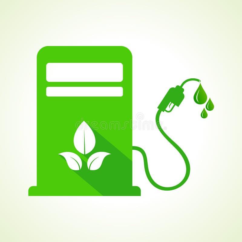 Bio bränslebegrepp med maskinen för bensinpump stock illustrationer