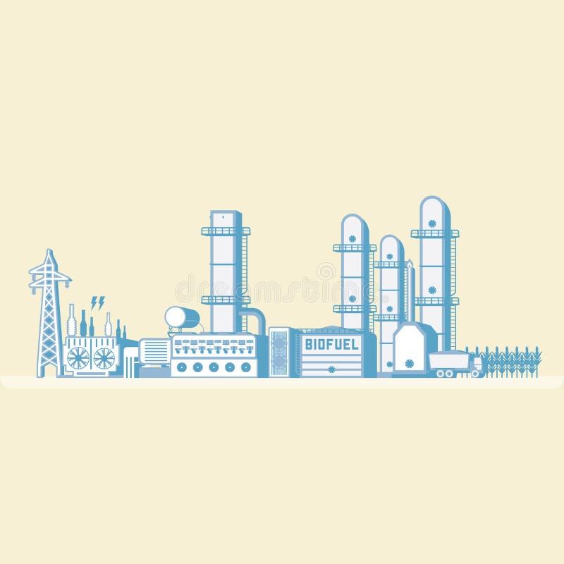 Bio centrale à énérgie de combustion et bio de carburant illustration libre de droits
