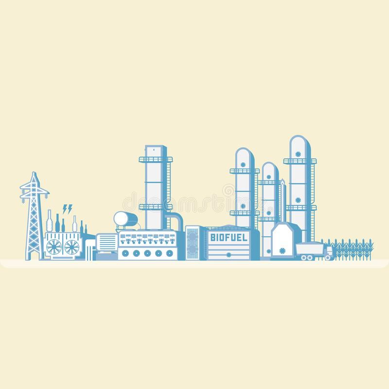 Bio- centrale elettrica a energia di combustione e bio- del combustibile royalty illustrazione gratis