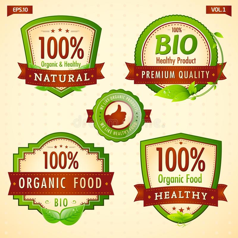 Bio colección vol. 1 de la escritura de la etiqueta del eco verde libre illustration