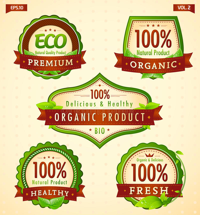 Bio colección vol. 2 de la escritura de la etiqueta del eco verde libre illustration