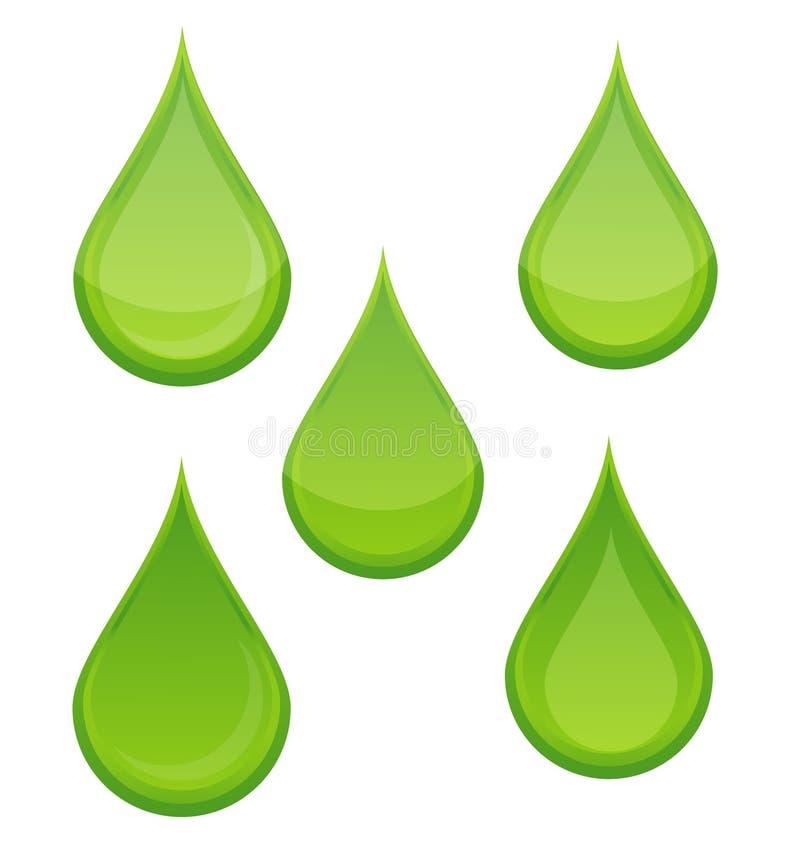 Bio- colore verde dell'insieme di simboli di goccia della natura illustrazione vettoriale