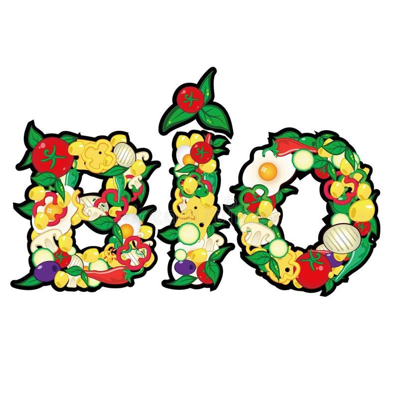 Bio com elemento do alimento ilustração stock