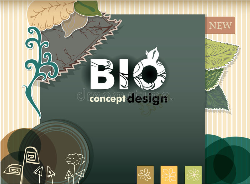 Bio concept design eco friendly. Beautiful hand drawn green leafs and ornaments stock illustration