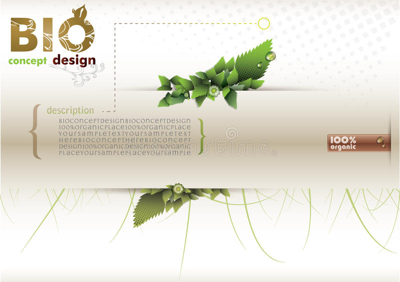 Bio concept design eco friendly. Green leafs and plants on white paper stock illustration