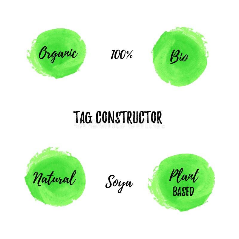 Bio constructeur de vecteur d'étiquette de nourriture Fond et manuscrits verts ronds : organique, 100 pour cent, bio, de naturel, illustration libre de droits