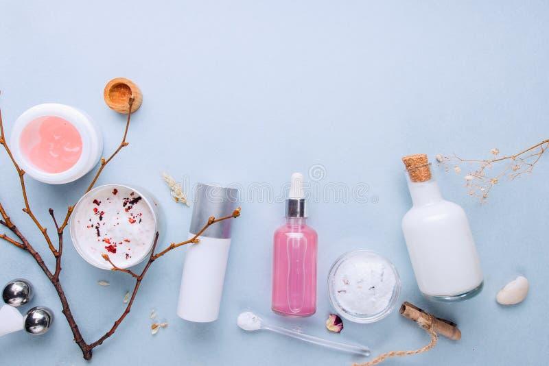 Bio- cosmetici organici con gli ingredienti di erbe L'estratto naturale di è aumentato, oli, siero Copi lo spazio, disposizione d fotografia stock libera da diritti