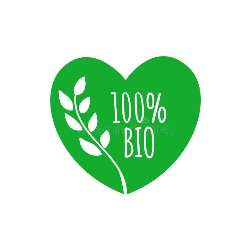 Bio crachá da forma do coração Bio etiqueta verde, etiqueta, ícone, ellement Bio logotipo para o empacotamento dos produtos Ilust ilustração do vetor