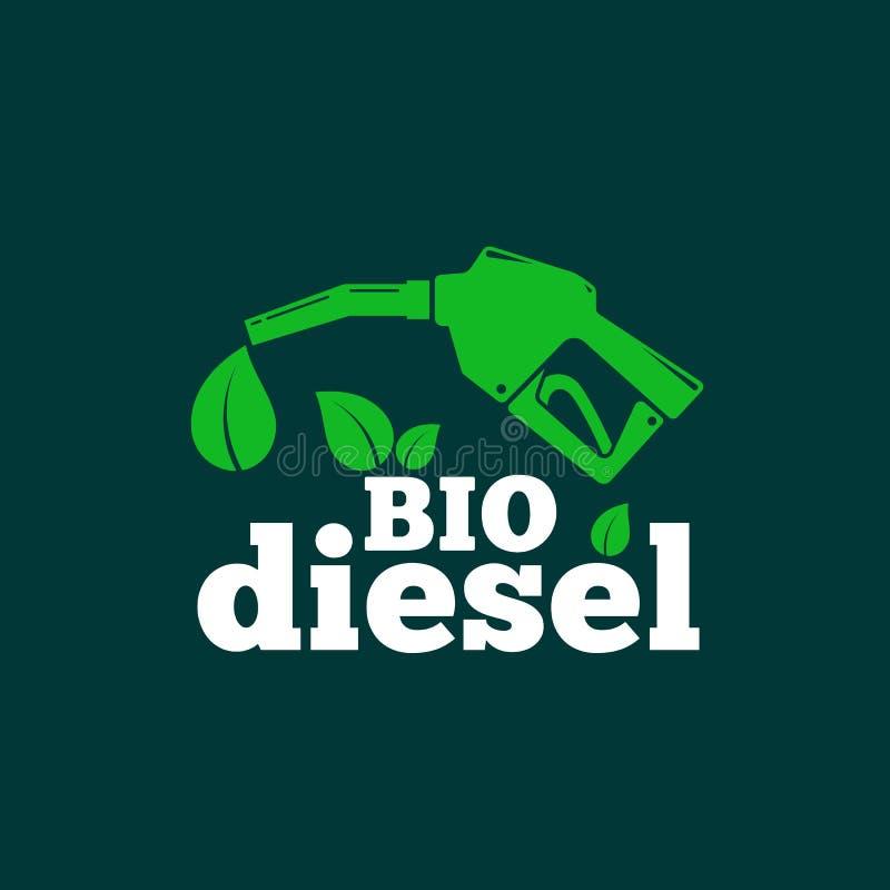 Bio diesel- abstrakt vektorlogo eller teckenmall Bio br?nslebegrepp Tanka pistolen och ett bladsymbol med typografi stock illustrationer