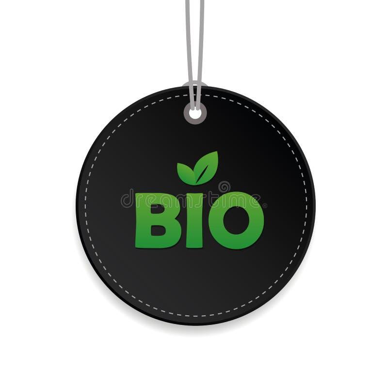Bio-eco freundliche Naturproduktschwarzlebensmittelkennzeichnung für Produkte lizenzfreie abbildung