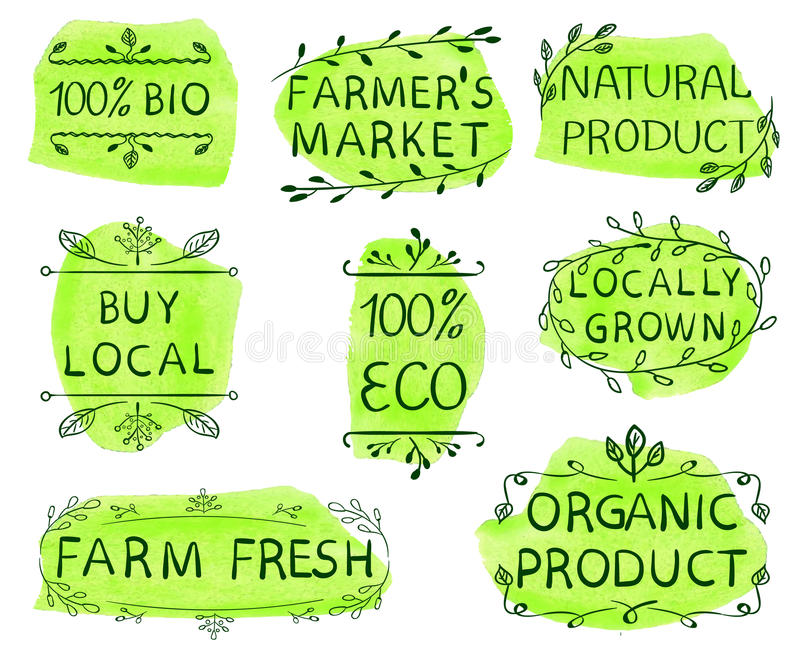bio 100, eco, köplokal, marknad för bonde` s, naturprodukt, lokalt som är fullvuxen, ny lantgård, organisk produkt Dragen uppsätt vektor illustrationer